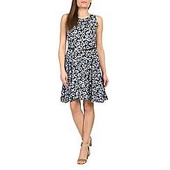 Izabel London - Blue sunflower belted dress