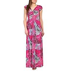 Izabel London - Pink front wrap printed maxi dress