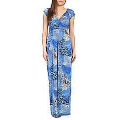 Izabel London - Blue front wrap printed maxi dress