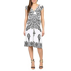 Izabel London - Cream baroque printed midi dress