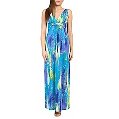 Izabel London - Blue graphic feather print maxi dress