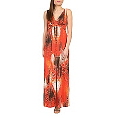 Izabel London - Orange graphic feather print maxi dress