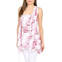 Izabel London - Pink flower printed layered tunic
