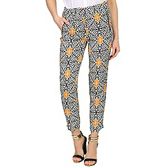 Izabel London - Orange damask print trousers