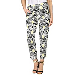Izabel London - Yellow damask print trousers