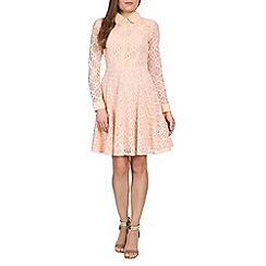 Chase 7 - Light orange collared lace skater dress