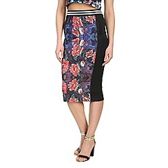 Damned Delux - Multicoloured pencil skirt fleur