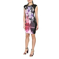 Damned Delux - Black blossom scuba dress