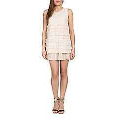 Tenki - Cream pearl embedded lace layered dress