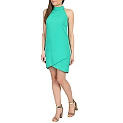Ayarisa - Green high neck sleeveless wrap shift