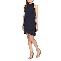 Ayarisa - Navy high neck sleeveless wrap shift