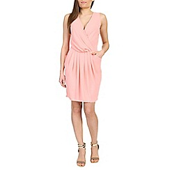 Cutie - Pink plain coloured wrap dress