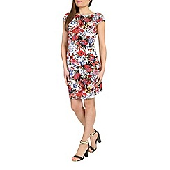 Cutie - Red floral print bodycon dress
