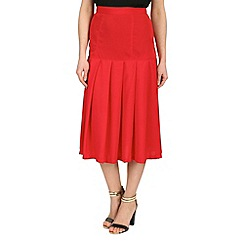 Cutie - Red pleated midi skirt