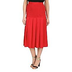 Cutie - Red pleated midi skirt
