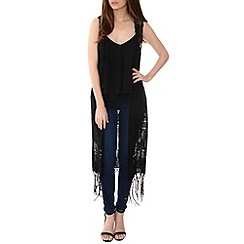 Alice & You - Black fringed crochet waistcoat