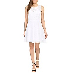 Chase 7 - Cream flower detailed skater dress