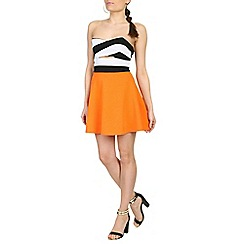 Damned Delux - Orange strapless skater dress