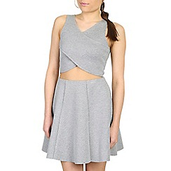 Damned Delux - Grey cross front bonded top