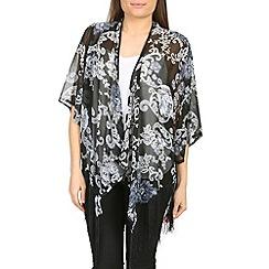 Voulez Vous - Black  paisley fringed kimono