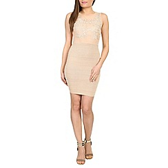 Chase 7 - Beige floral patterened bodycon dress