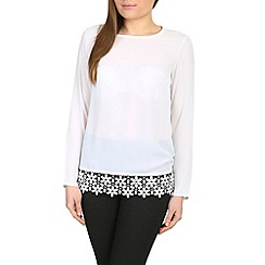 Alice & You - Cream long sleeve crochet hem top