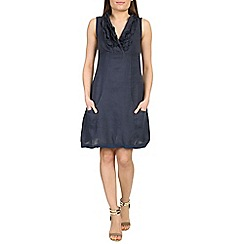 Amaya - Navy two tone ruffle linen dress