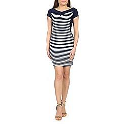 Voulez Vous - Navy striped bardot dress
