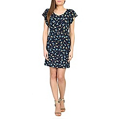 Voulez Vous - Navy bird print frill belted dress