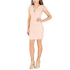 Izabel London - Pink neon open back lace dress