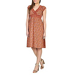 Izabel London - Red ditsy floral print dress