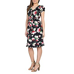 Izabel London - Blue cap sleeve flower print dress