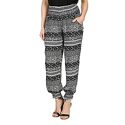 Izabel London - Black viscose patterned harem style pants
