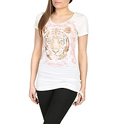 Izabel London - White sleeveless lion foil print top