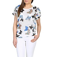 Izabel London - Blue printed t-shirt with butterfly