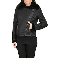 Barneys - Black faux shearling aviator