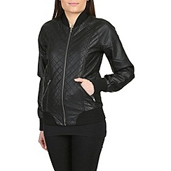 Barneys - Black ladies pu quilted varsity jacket