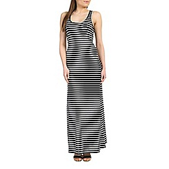 Izabel London - Black viscose strap full length stripe dress