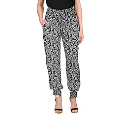 Izabel London - Black paisley shirring trousers