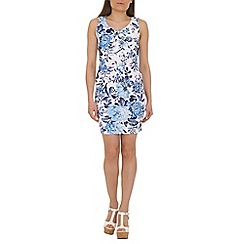 Voulez Vous - Blue pleated front floral dress