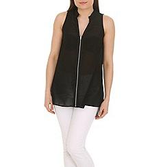 Ayarisa - Black zip front tunic top