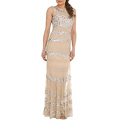 RubyRay - Natural floor length beaded dress