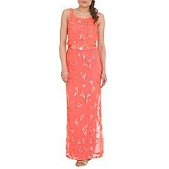 RubyRay - Peach geometric pattern dress