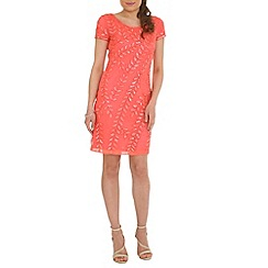 RubyRay - Pink leaf beaded dress