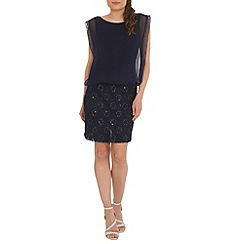 RubyRay - Navy lace beaded dress