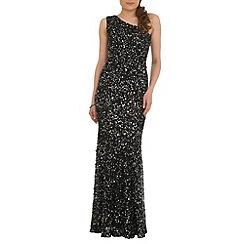 RubyRay - Black beaded asymmetric dress