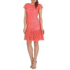 RubyRay - Peach beaded frill hem dress