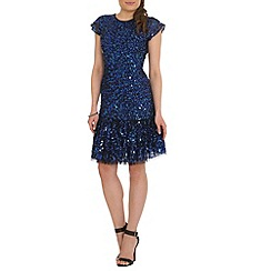 RubyRay - Blue beaded frill hem dress