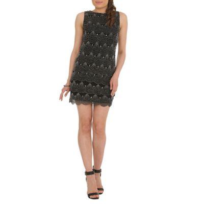 RubyRay Grey scalloped beaded shift dress - . -