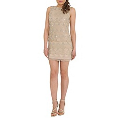 RubyRay - Tan scalloped beaded shift dress